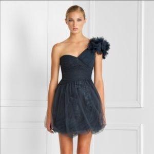 BCBG Dark Blue Grey Tulle Cocktail Dress